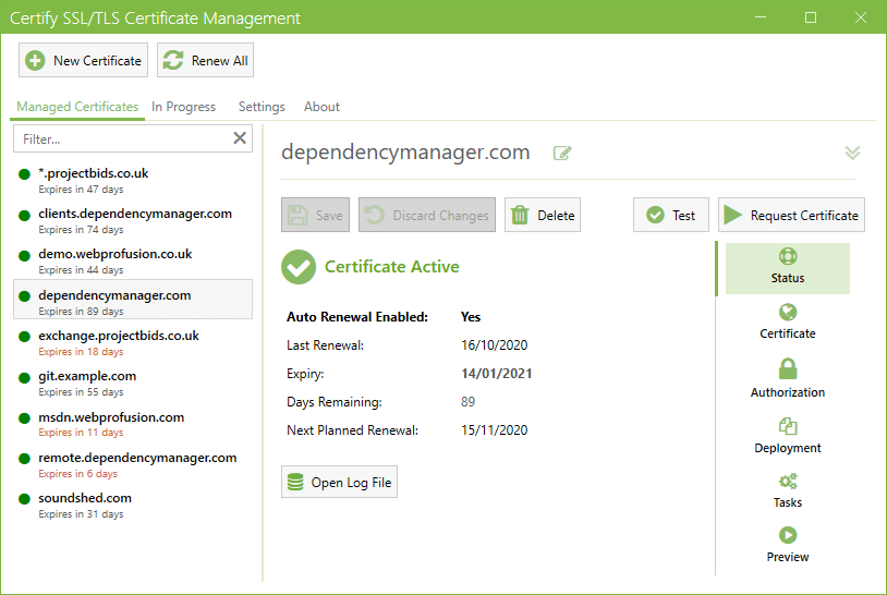 Certify the Web allows you to easily manage, install and auto-renew free SSL/TLS certificates from letsencrypt.org and other ACME certificate authorities for your IIS Windows and other services.